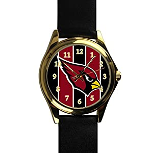 Time Walker Men's Easy to Read NFL Arizona Cardinals Display Analogue Yellow Dial Analog Quartz Watch