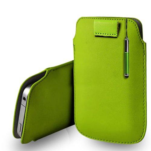 Huawei Ascend G620s Green Leder Pull Tab Tasche Tasche + Retractable Stylus Pen & Poliertuch
