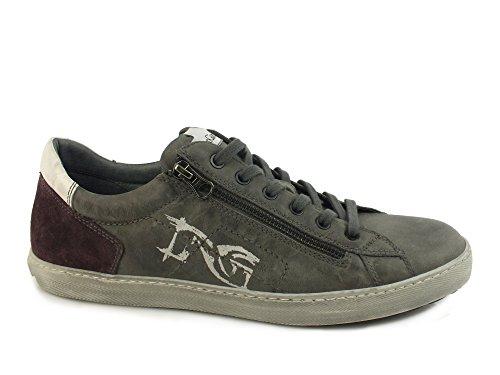 NERO GIARDINI sneakers lacci uomo zip PELLE CEMENTO GRIGIO A604430U 45