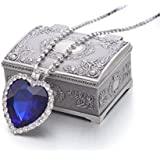 REINDEAR Movie Titanic Heart of Ocean Big Czech Blue Crystal Pendant Necklace with Jewelry Box US Seller