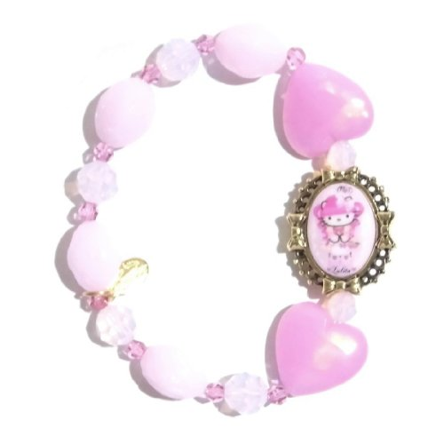 TARINA TARANTINO (タリナタランティーノ) Kitty GOTHIC LOLITA PINK HEAD MULTIBEAD BRACELET 2 Gold Ribbon pink heart bracelet
