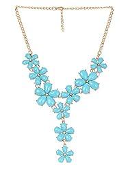Fayon Chunky Fashion Turquoise Gemstone Hanging Flowers Pendant Necklace