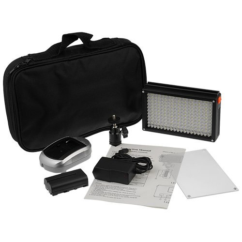 Fotodiox Pro Led 209As, Video Led Light Kit, With Dimmable Switch, Daylight / Tungsten Switch 1X Sony Type Battery, Battery Charger, Removable Diffuser, Hot Shot Mount And Carrying Case, Color Temperature 5600K, Cri > 95