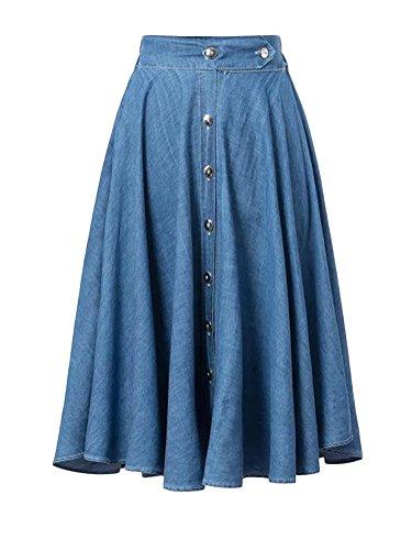 Enlishop Women's Long Washed Elastic Waist Pleated Maxi Party Denim Skirt S Blue Denim Maxi Skirt