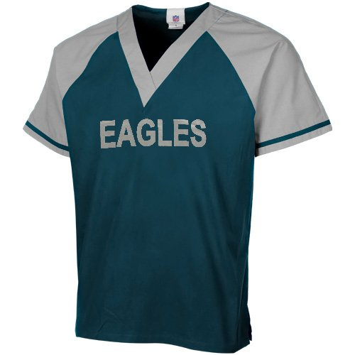 NFL Philadelphia Eagles Midnight Green-Silver Raglan Color Block Scrub Top (Small) at Amazon.com