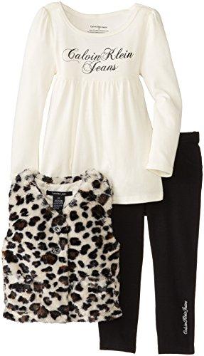 Calvin Klein Little Girls' 3 Piece Cheetah Print Vest Set, Black, 6 front-1052857