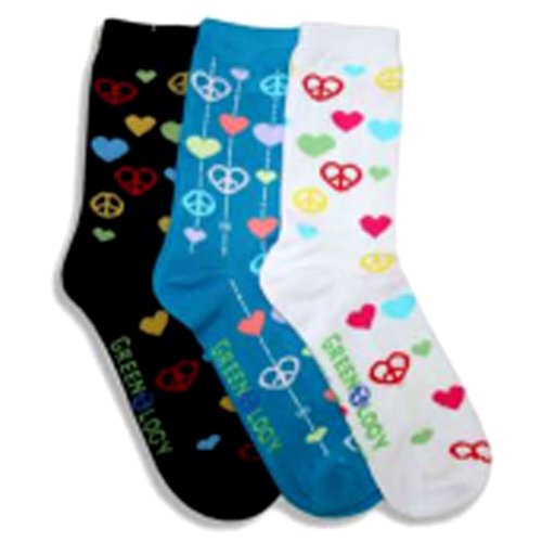 I Heart Love Peace Stop Global Warming Multi 3 Pack Socks