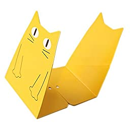 HITOP Cute 1 Pair Cat Bookends Bookend Stand Art Gift (Yellow)