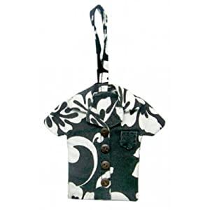 Hawaiian Luggage Tag Canvas Floral Print Black Aloha Shirt