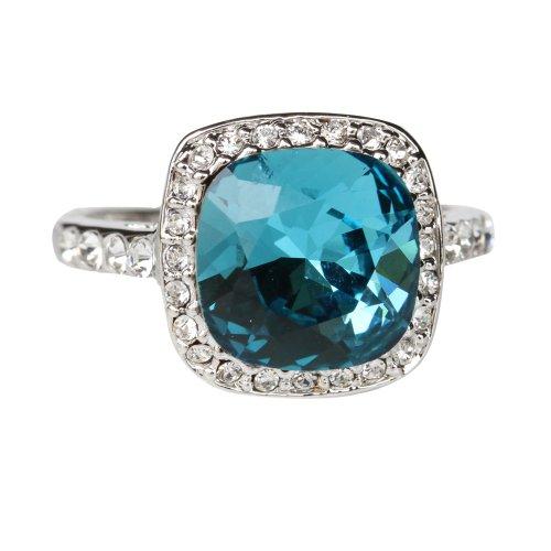 Fashion Plaza 18k White Gold Plated Use Swarovski Crystal Wedding Engagement Ring R232 Size 6