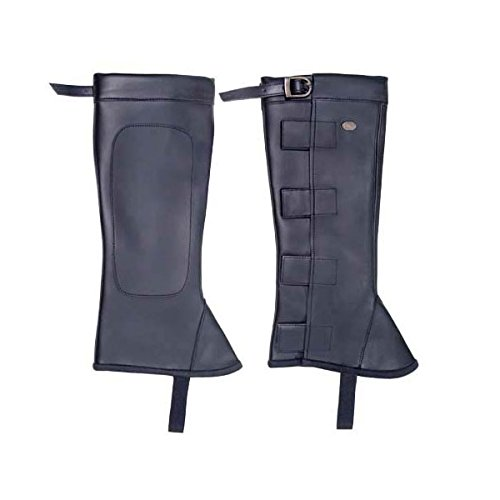 Derby Originals Synthetic Leather Half Chaps with Velcro, Black, X-Large