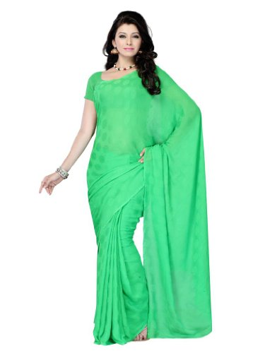 Diva Fashion Womens Green Saree With Blouse Piece