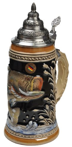 Beer Steins by King - Large Mouth Bass Fishing German Beer Stein (Beer Mug) 0.75l Limited Edition
