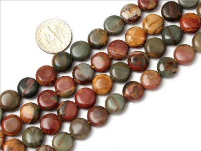 10mm coin gemstone picasso Jasper beads strand