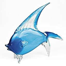 Badash Crystal Light Blue Art Glass Tropical Fish 15.5 by 18 Inch
