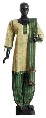 Light Yellow Cotton Kurta With Green And Yellow Striped Salwar And Chunni - Cotton