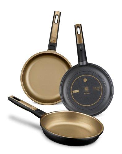 BRA Terra - Set de 3 sartenes, aluminio fundido, aptas para todo tipo de cocinas, incluido inducción