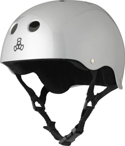 Triple-Eight-Helmet-with-Sweat-Saver-Liner-Silver-Metallic-Medium