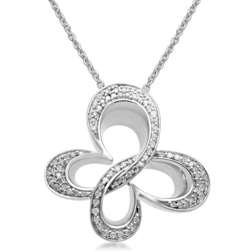 True Harmony by Carol Alt Sterling Silver Diamond Butterfly Pendant Necklace (1/5 cttw, I-J Color, I3 Clarity), 18