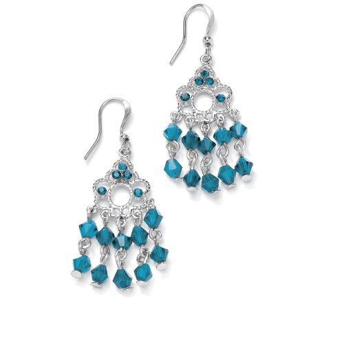 Silvertone Metal Birthstone Chandelier Pierced Earrings - December- Simulated Blue Topaz