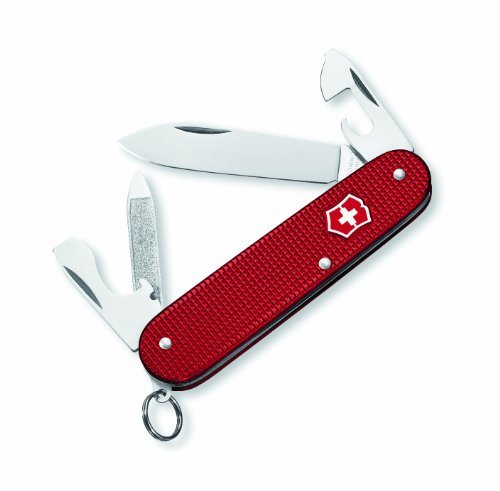 Victorinox 53043 Cadet Swiss Army Knife, Red Alox, Ribbed