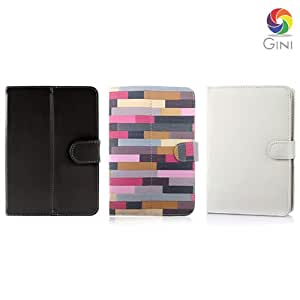 Gini 7 inches Flip cover forCelkon CT910 Tablet Combo of Multicolor, Black & White