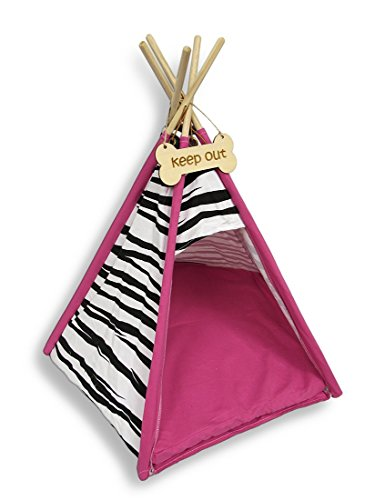 Zebra Print Pet Teepee Bed with Hot Pink Trim 26 X 24 In.