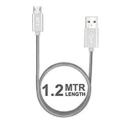 MTT® Nylon Braided Tangle Free Metal Connector Head Dual Side Reversible Micro USB (1.2M, Silver)