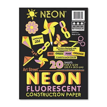 Neon Construction Paper/Pack kitcyo588750pac103637 value kit crayola pip squeaks telescoping marker tower cyo588750 and pacon riverside construction paper pac103637
