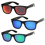 zeroUV - Matte Finish Reflective Color Mirror Lens Large Square Horn Rimmed Sunglasses 55mm (3 Pack   Red + Blue + Gree)