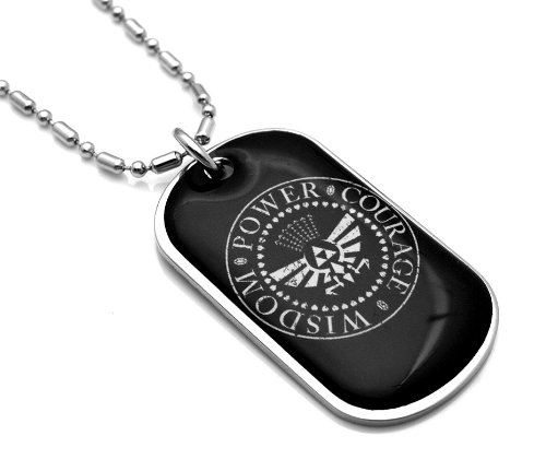Legend Of Zelda Wisdom, Power, Courage - Coated Dog Tag Necklace-With Free Chain