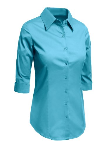 4e755f13 LE3NO Womens Roll Up 3/4 Sleeve Button Down Shirt with Stretch ...