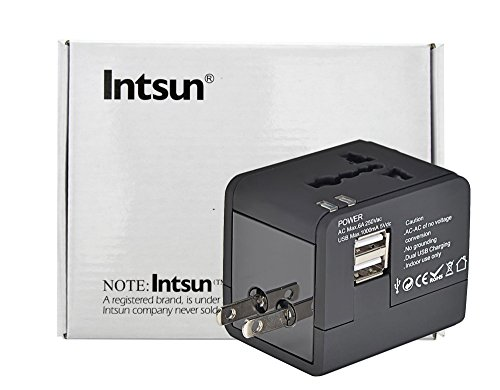 Intsun® National Holidays Gifts For You Universal Word Wide All In One Us Uk Au Eu Travel Charger Adapter With Dual Usb Port 2.1A Max 5V Dc For Cellphone Tablet Pc Samsung Htc Nokia Ipad Iphone (Black)