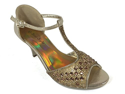 Goal05 Womens Open Toe Classic Low Heel Summer Ankle Strap Wedding Rhinestone Gladiator Sandals Dress Wedge Shoes (11, Golden)