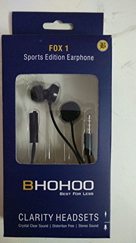 BHOHOO Fox 1 Upgraded black headphone Premium Best High Quality In-Ear Hands free 3.5mm jack Earphones with Mic For One Plus 1 / One plus 2 / apple iphone / samsung / micromax / yu yureka / yuphoria / motorola moto / xiaomi mi with Free 2 ear buds