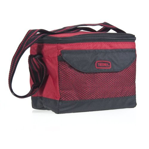 Thermos 6 Can Cooler Carrier Tote Bag Insulated Lunch Shoulder Fabric Box Food Red front-969171