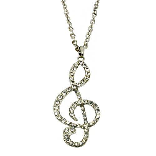 Full Cubic Zircon Stone Inlay Music Notation Shiny Necklace