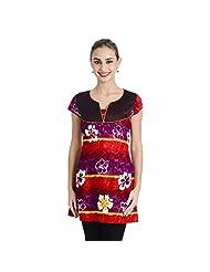 Keona Women's Cotton Regular Fit Kurta (Orange & Purple)