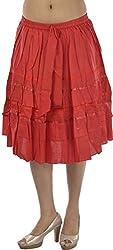 HotShot Women's Cotton Skirt (RH006, Red, Large)