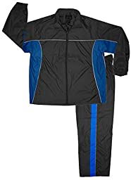 Men\'s Nylon Athletic Sweat Suit (Jacket and Pants),Large,Black/Royal/Charcoal