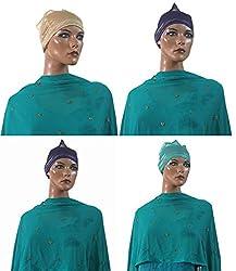 Wholesale Lot 3 Hijab Underscarf Caps Bonnet Shinny Shimmer Fancy Head Bands