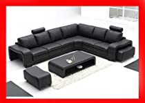 Hot Sale 3330 Black Sectional Sofa Set with 2 Footrests and Coffee Table