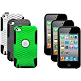 The Friendly Swede (TM) 3 x Dual Layer Hybrid Silicone Protector Hard Cases for Apple iPod Touch 4/4th Gen/4G + Stylus Pen + Microfiber Cleaning Cloth in Retail Packaging
