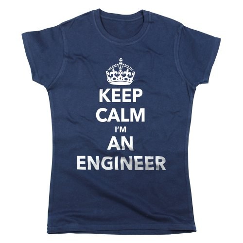 Nutees Keep Calm I'm An Engineer Funny Womens T Shirt - Navy Blue Medium
