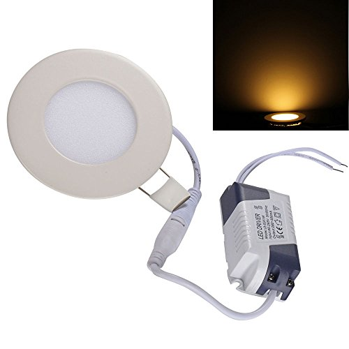 Ljy Led Recessed Ceiling Flat Panel Down Light Lamp (Warm White, 3W Round)