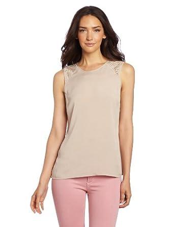 Calvin Klein Women's Sequin Shoulder Tank, Latte, Medium