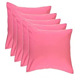 Trendz Trendy & Plain Cushion Covers- Set of 5 - 12 X 12 , pink