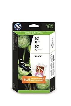 HP Pack 2 Cartouches Jet d'encre Originale N°301 (1 Noir + 1 Couleur) + 10F + 5ENV
