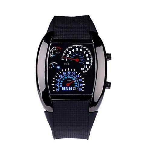 Coromose Black Aviation Turbo Dial Flash Led Sports Watch Car Meter