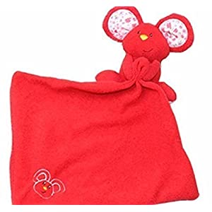 Security blanket mouse red and floral, rattles